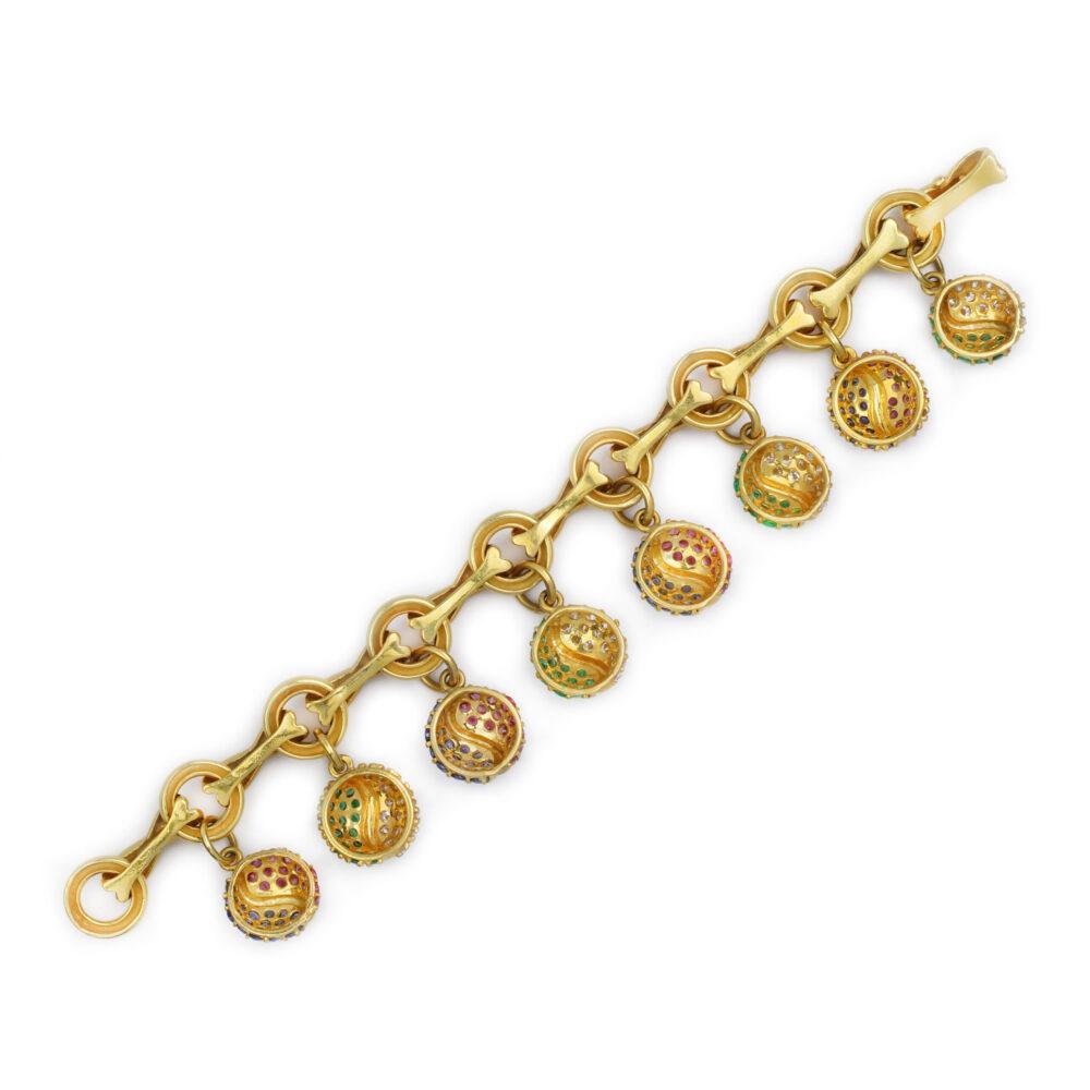 Tiffany & Co. Paloma Picasso Gold, Gem-Set and Diamond Charm Bracelet