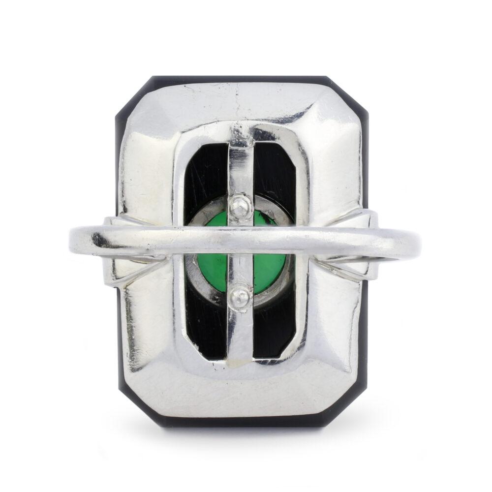 Art Deco Onyx and Jade Plaque Ring