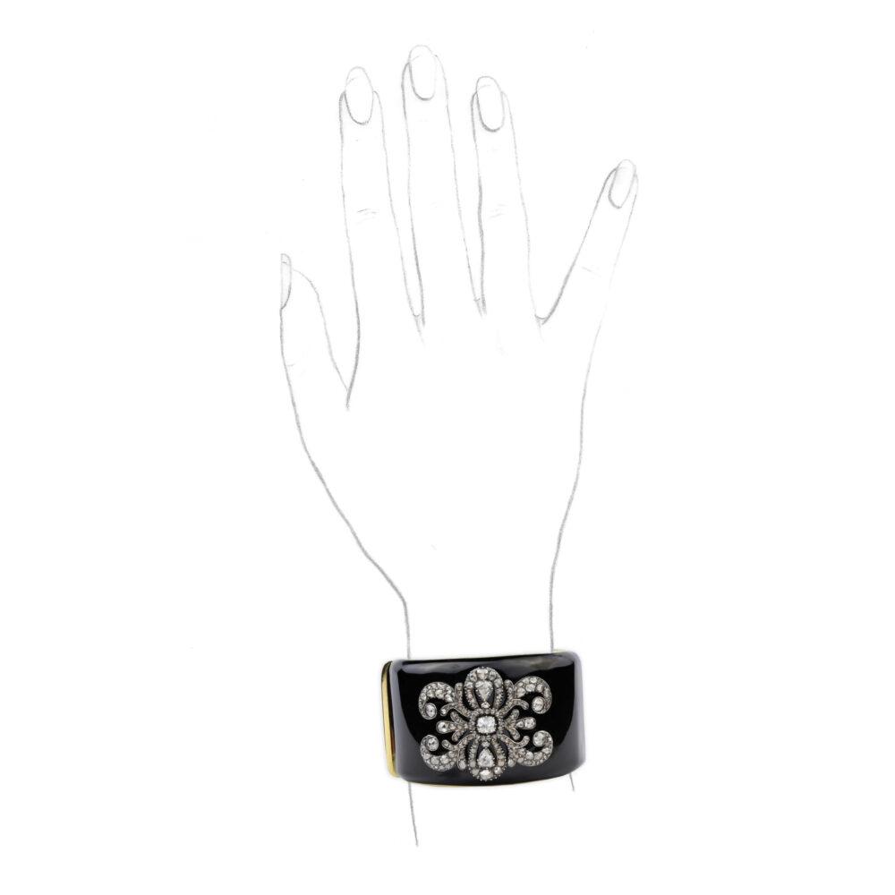 Diamond and Black Enamel Cuff Bracelet