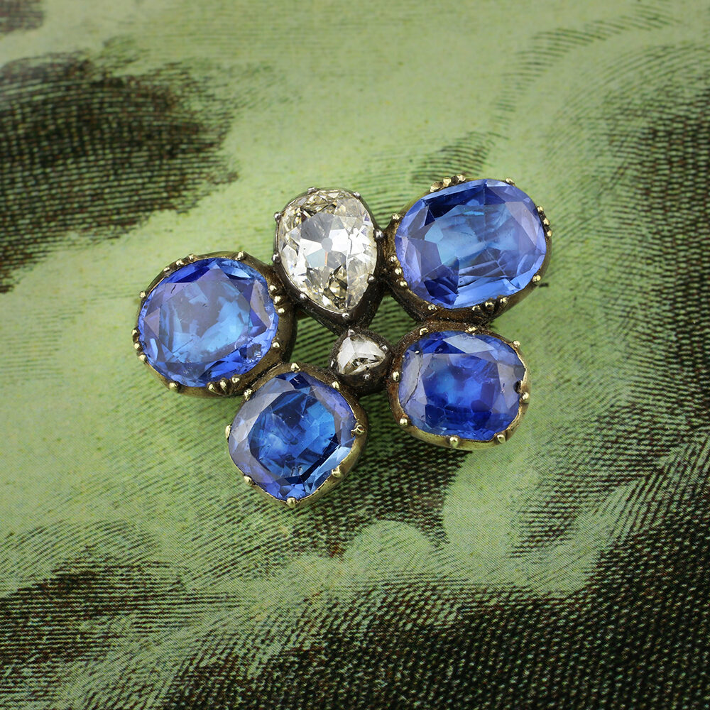 Antique Sapphire and Diamond Butterfly Brooch