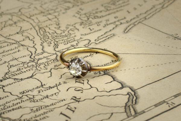 Old Cut Cushion Shaped Diamond Ring