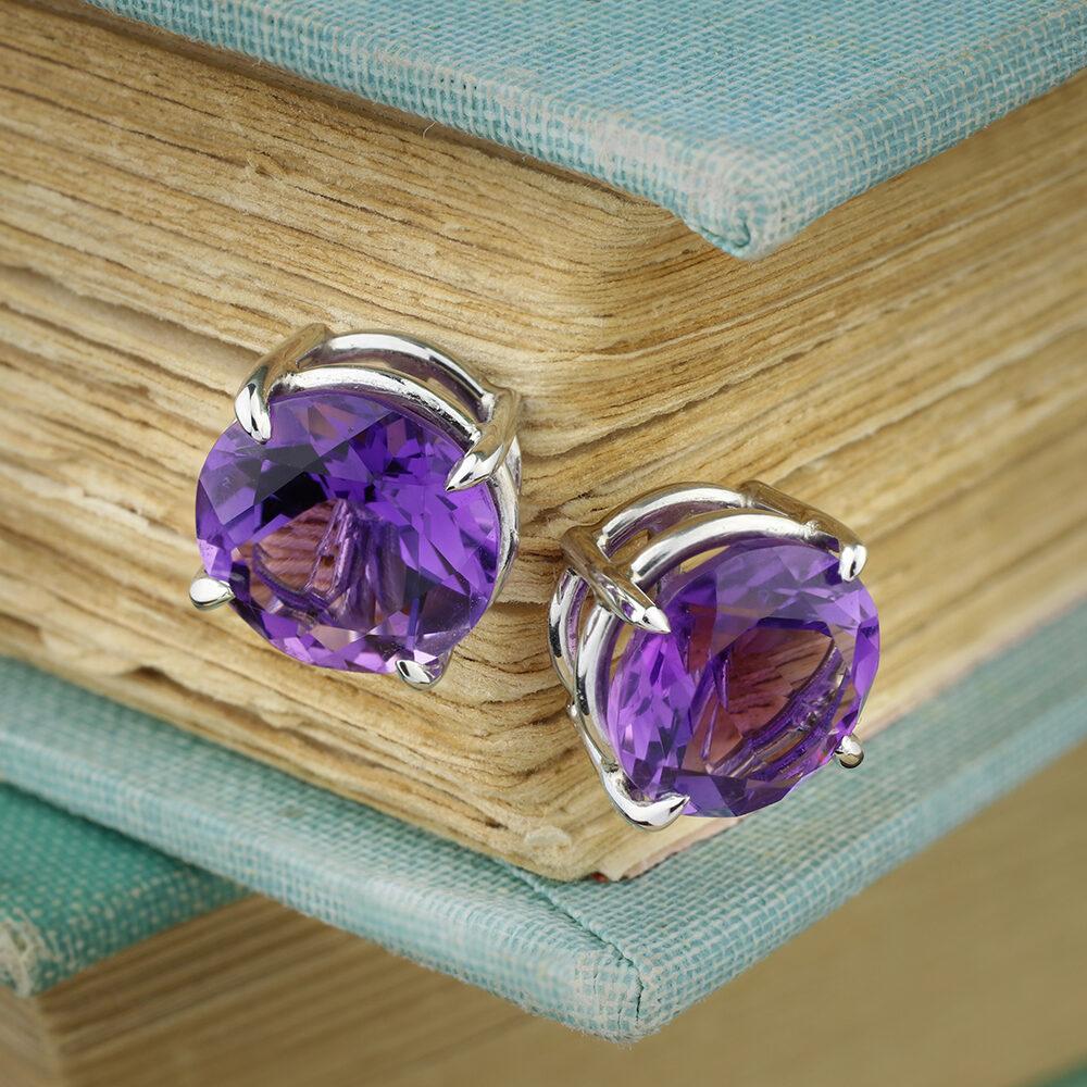 Platinum and Amethyst Stud Earrings