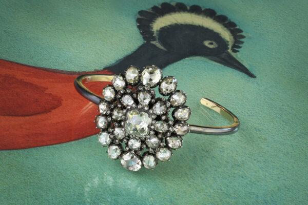 Rose Cut Diamond Bangle Bracelet