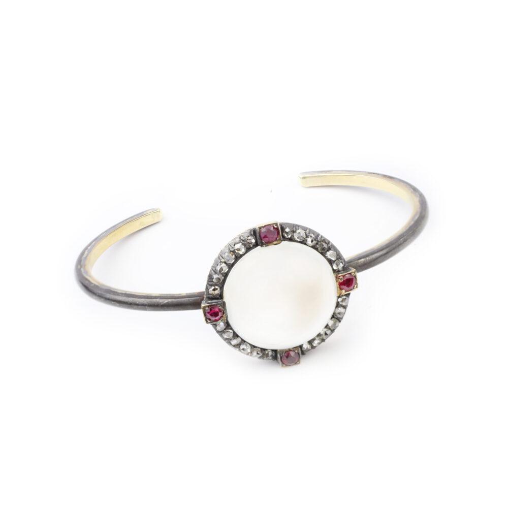 Moonstone, Diamond and Ruby Bracelet