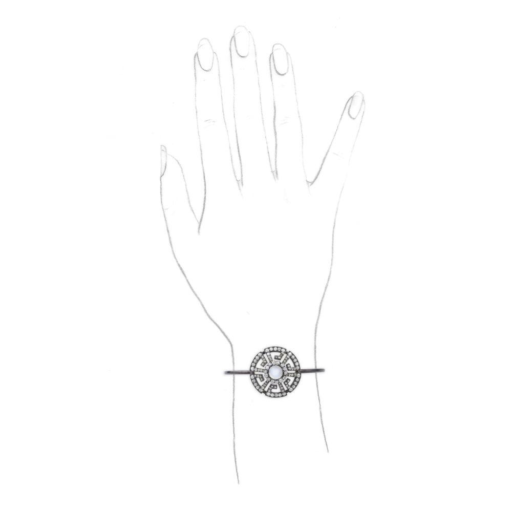 A Moonstone and Diamond Bangle Bracelet