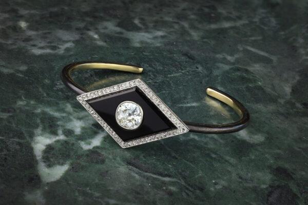 Diamond And Onyx Bangle Bracelet