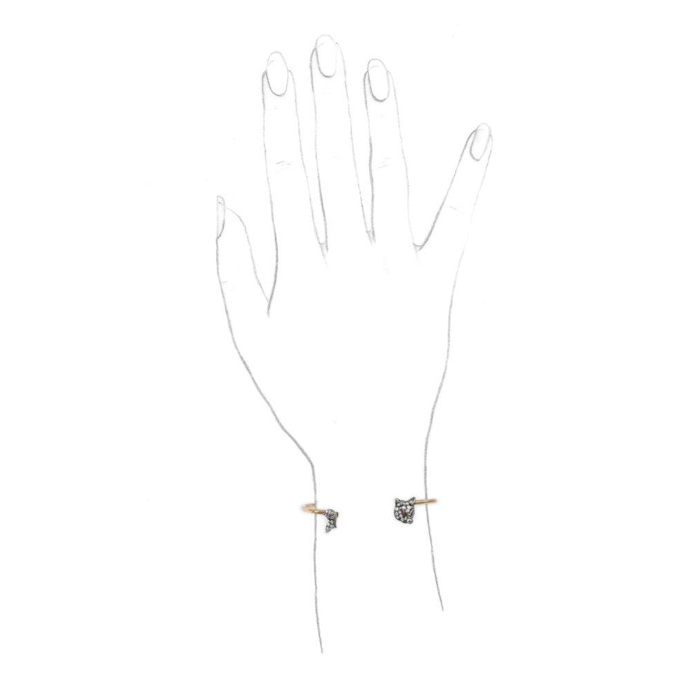 A Silver, Gold and Diamond Bangle Bracelet