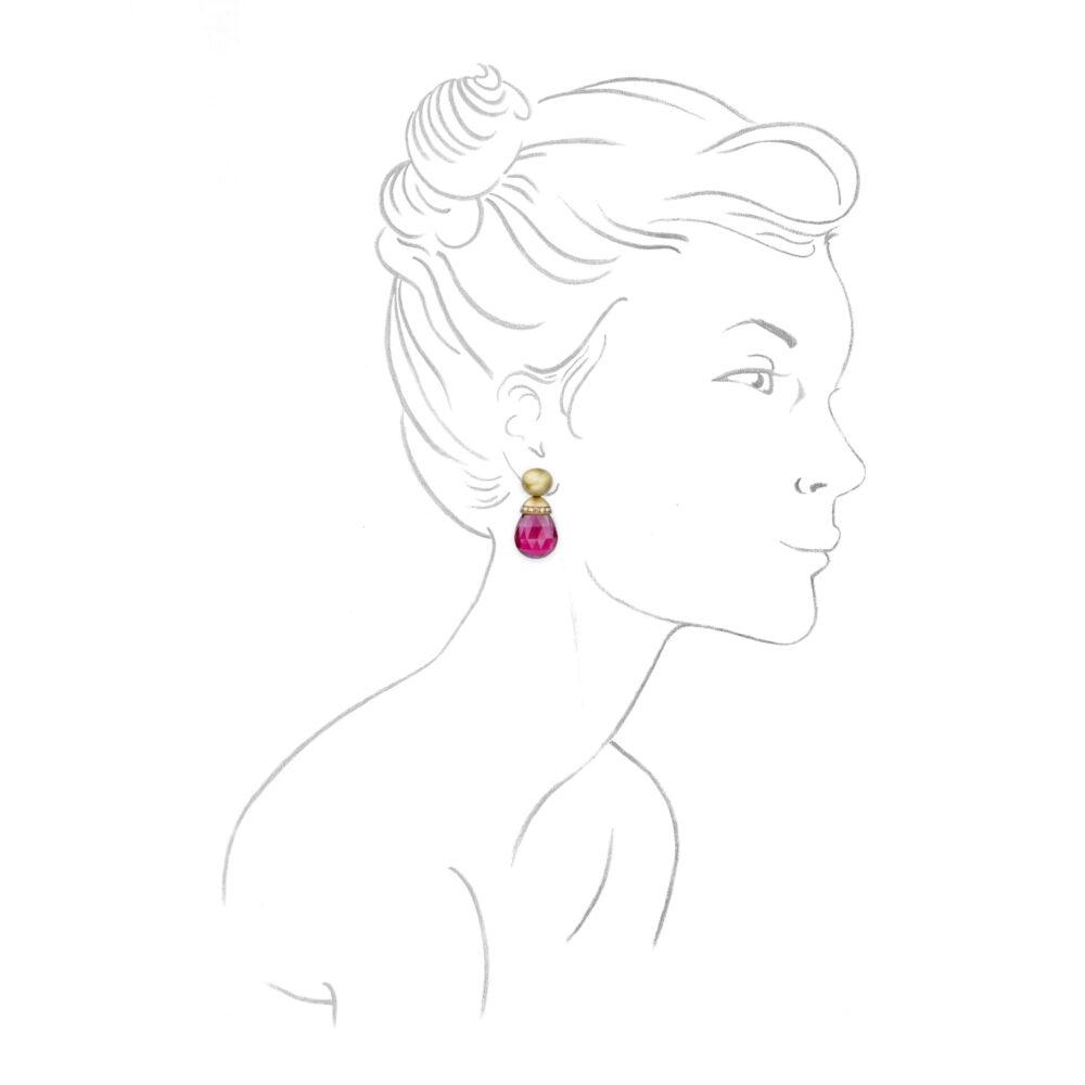 Hemmerle Rubellite and Colored Diamond Ear Pendants