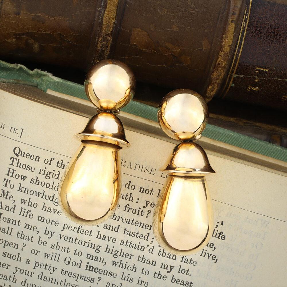 Hemmerle Sculpted Rose Gold Ear Pendants