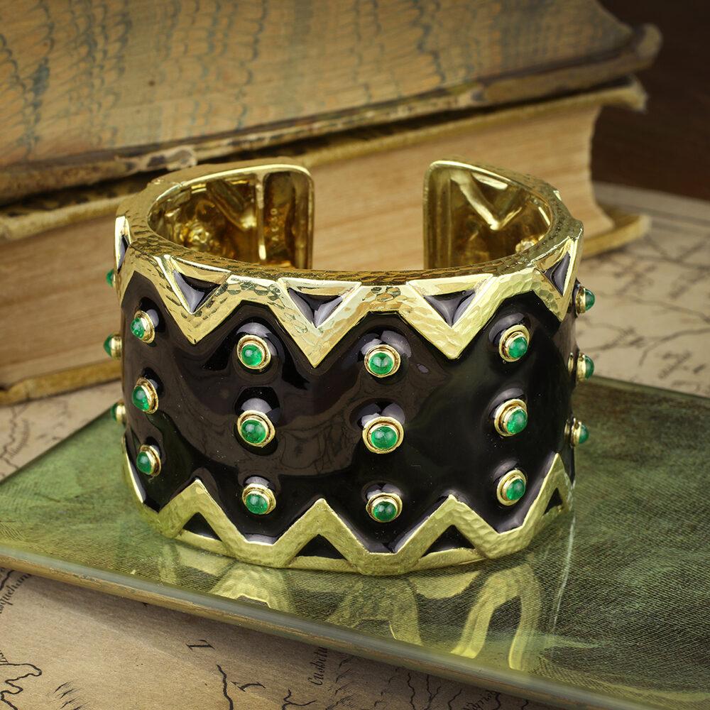 David Webb Enamel, Emerald and Gold Cuff Bracelet