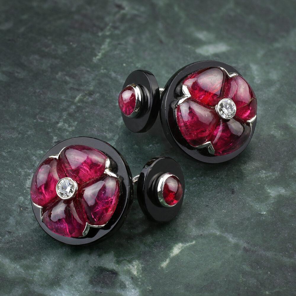 BHAGAT, Ruby, Onyx and Diamond Cufflinks