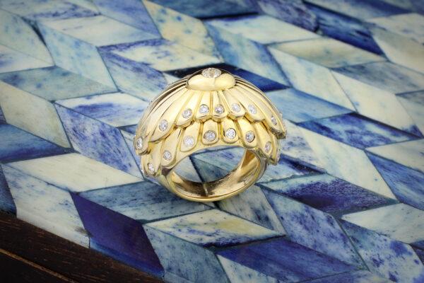Cartier Diamond Set Sculpted Gold Ring