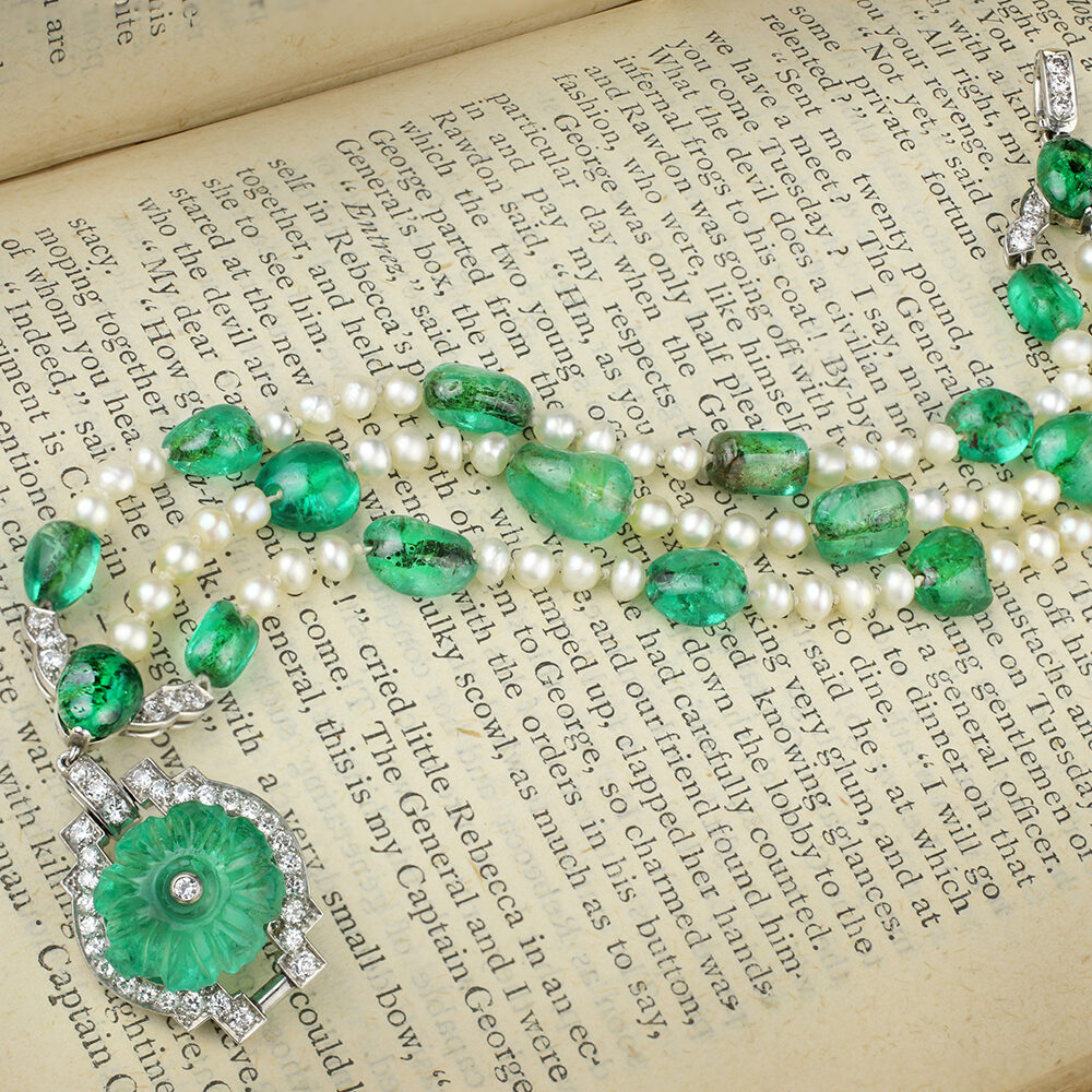 Cartier, Art Deco Emerald, Natural Pearl and Diamond Bracelet