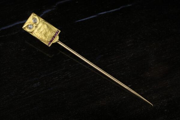 Diamond, Ruby And Gold Stick Pin