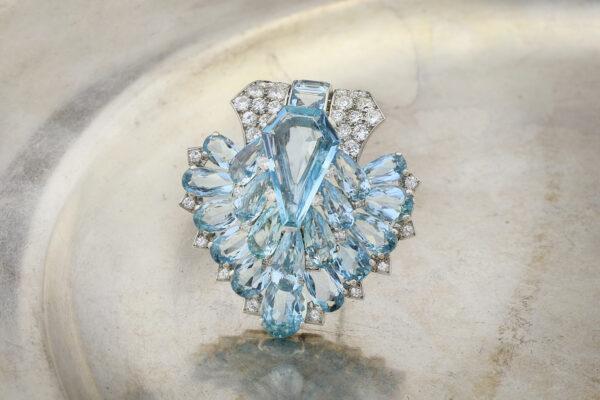 Cartier Art Deco Aquamarine And Diamond Clip Brooch