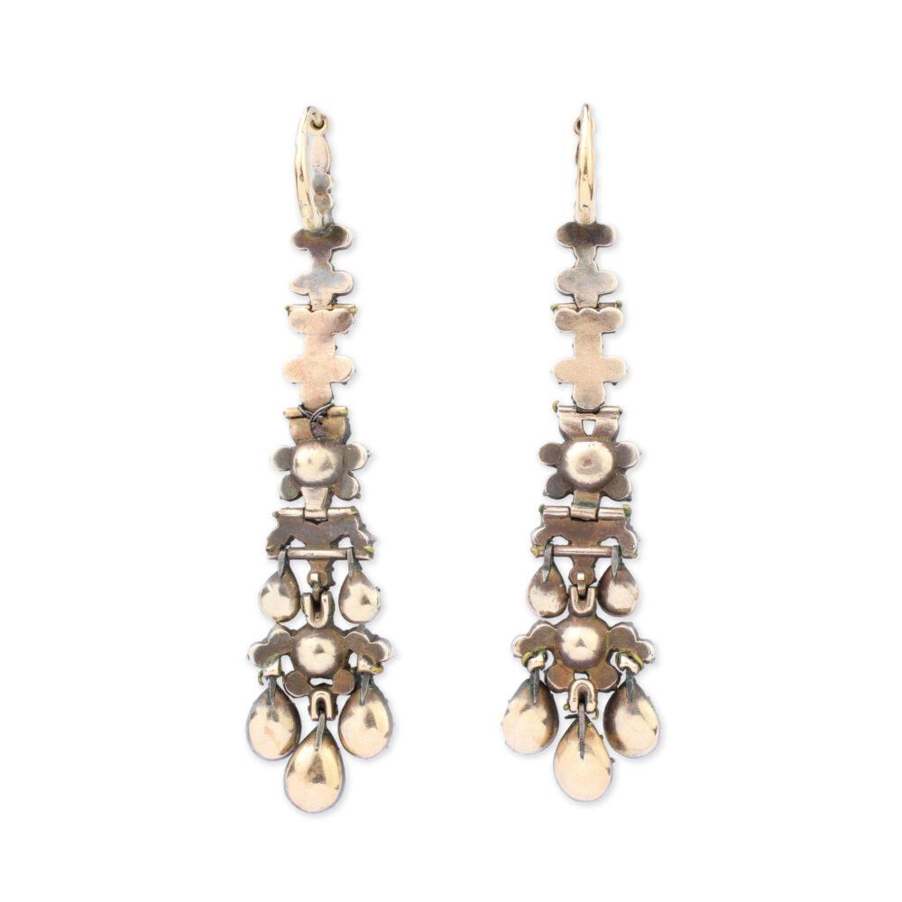 Antique Rose Cut Diamond Girandole Ear Pendants