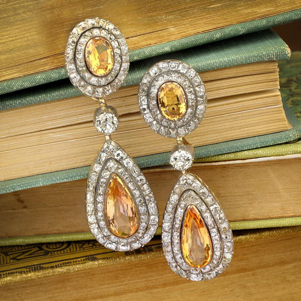 Antique Topaz and Diamond Ear Pendants