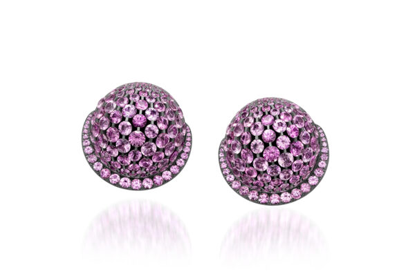 Pink Sapphire And Diamond Dome Ear Clips» Price On Request «