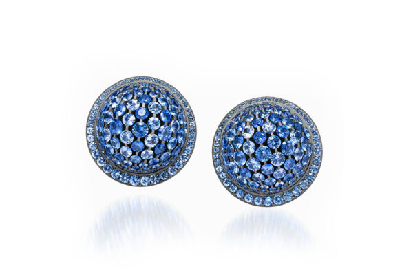 Blue Sapphire And Diamond Dome Ear Clips» Price On Request «