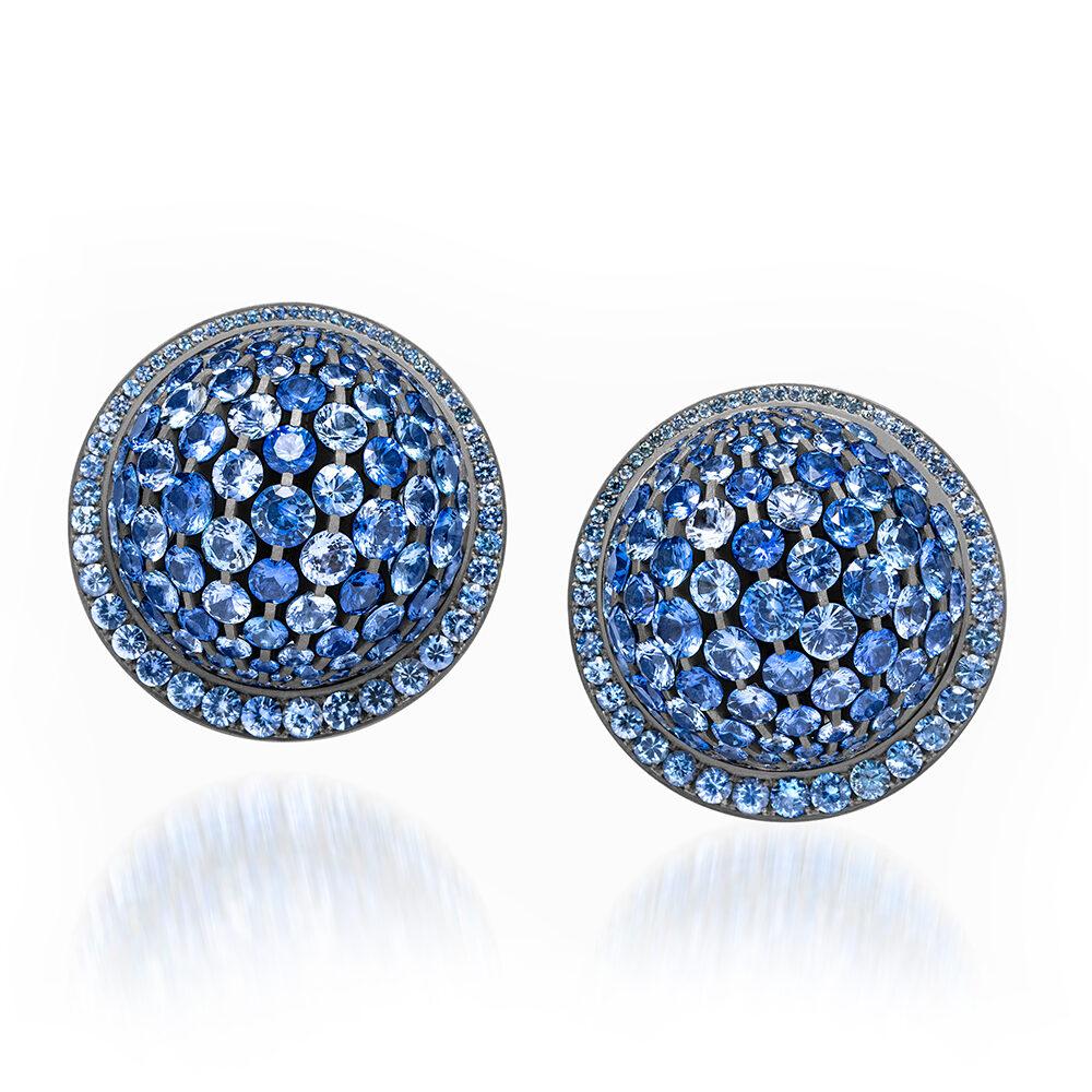 Blue Sapphire and Diamond Dome Ear Clips