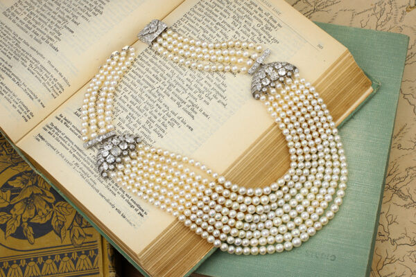 Multi-Strand Natural Pearl And Diamond Necklace» Price On Request «