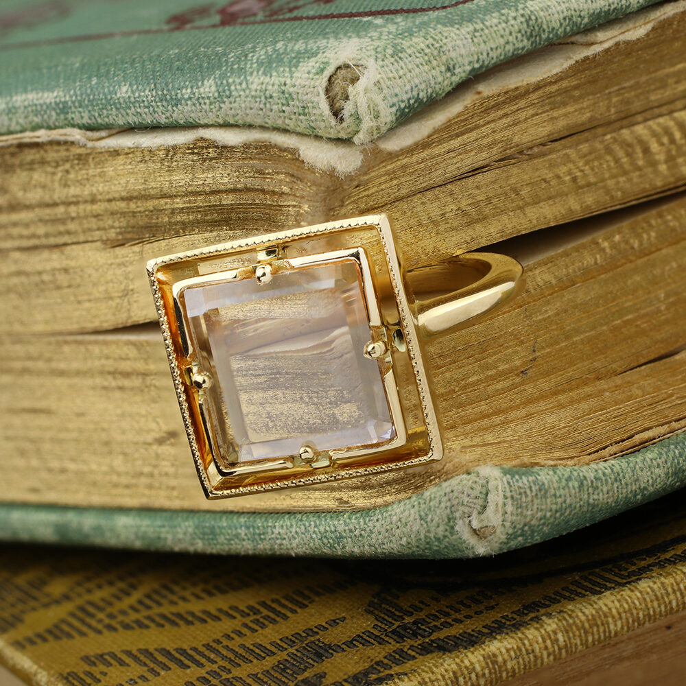 Square-cut Portrait Diamond Ring