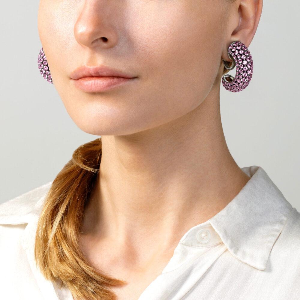 Pink Sapphire and Diamond Creole Earrings