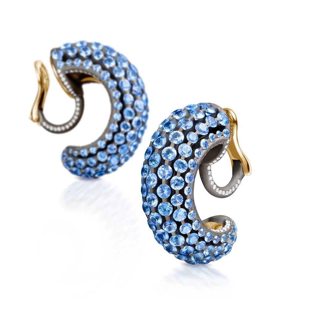 Light Blue Sapphire and Diamond Creole Earrings