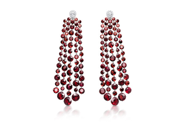 Garnet And Diamond Chandelier Ear Pendants» Price On Request «