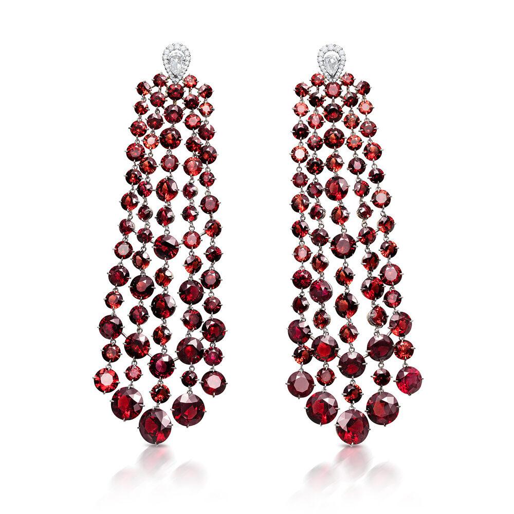 Garnet and Diamond Chandelier Ear Pendants