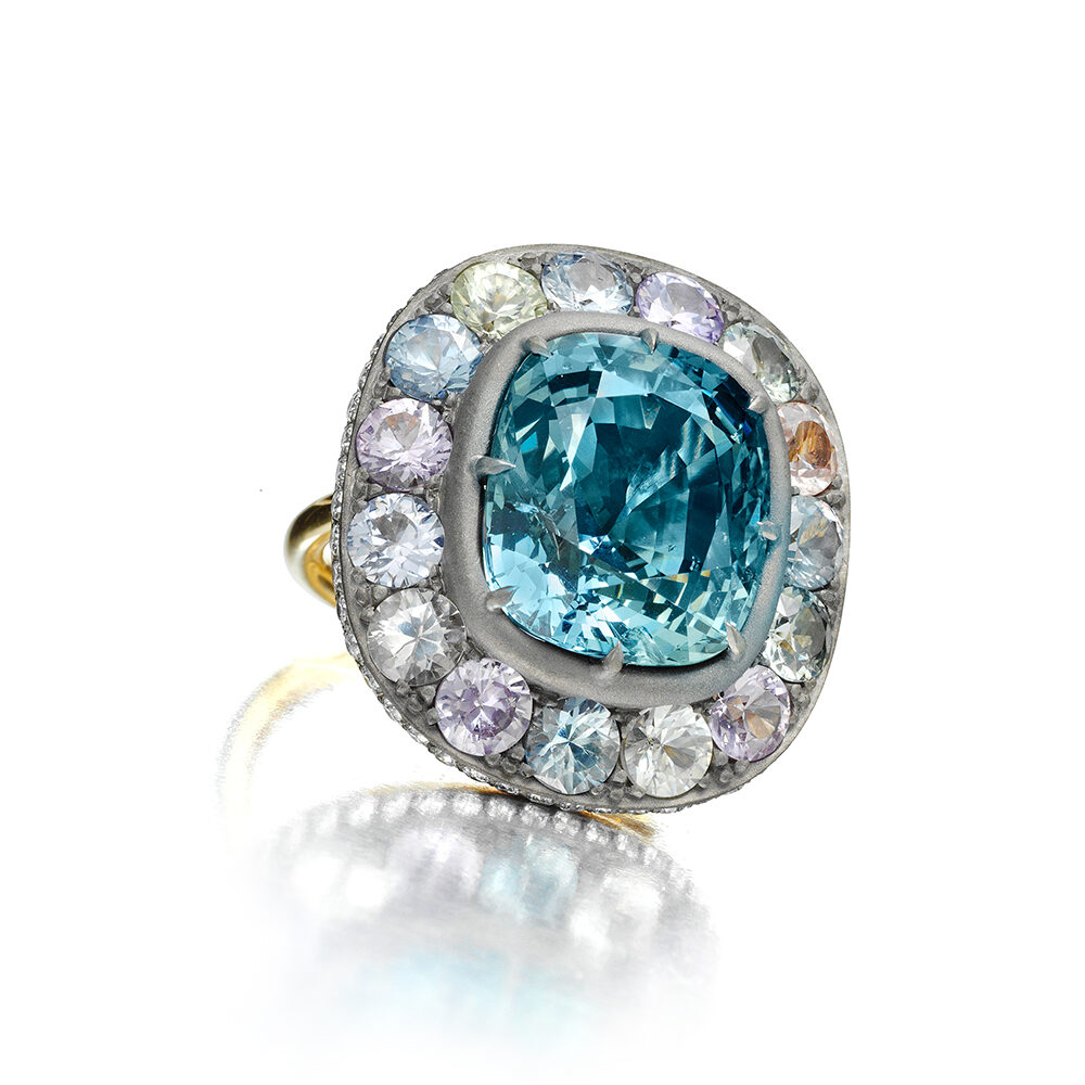 Colored Sapphire and Diamond Ring