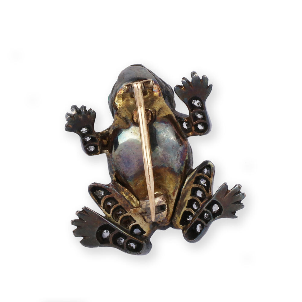 Antique Diamond and Emerald 'Frog' Brooch
