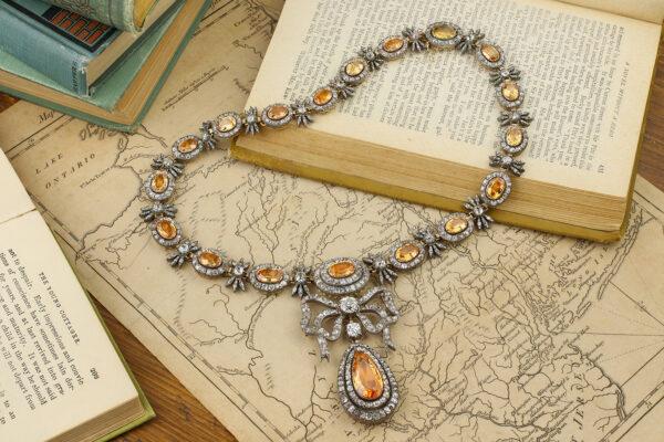 Antique Topaz And Diamond Necklace