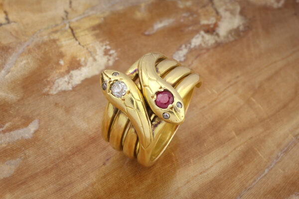 Antique Ruby, Diamond, And Gold Twin Snake Ring