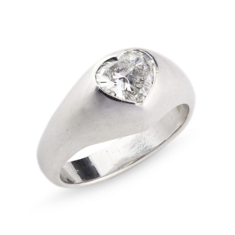 Hemmerle Platinum and Heart Shaped Diamond Ring