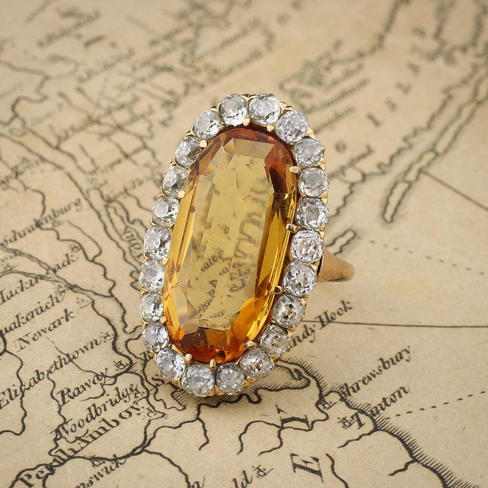 Antique Topaz and Diamond Ring