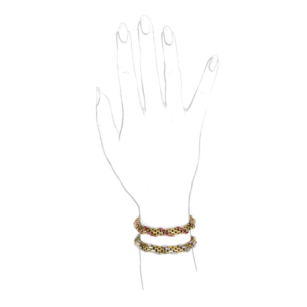 Pair of Ruby and Diamond Bracelets
