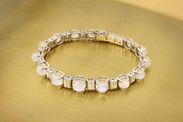 Moonstone And Diamond Line Bracelet