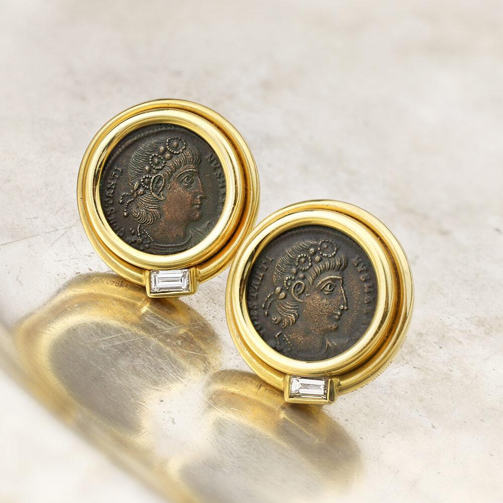 Bulgari 'Monet' Ancient Coin, Diamond and Sculpted Gold Ear Clips