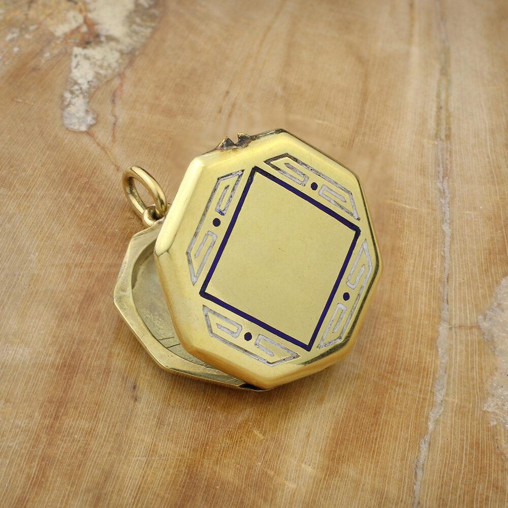 Gold and Enamel Locket Pendant