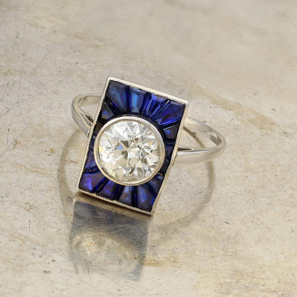 Art Deco Diamond and Sapphire Plaque Ring