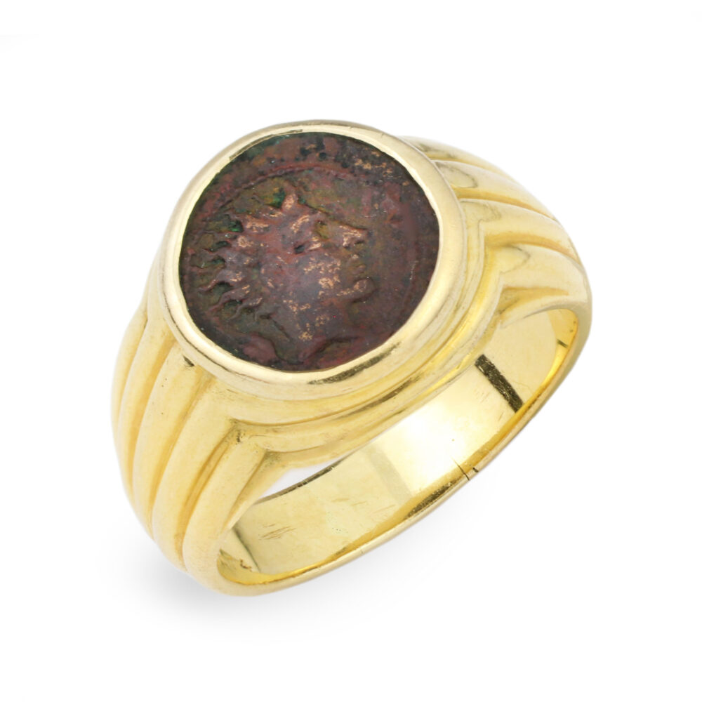 Bulgari 'Monet' Ancient Coin and Sculpted Gold Ring