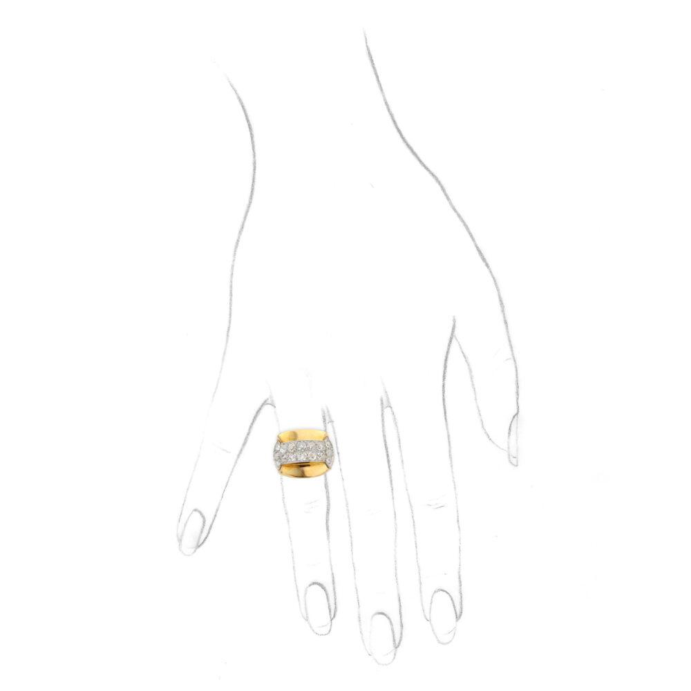 Retro Diamond Set Sculpted Gold and Platinum Ring