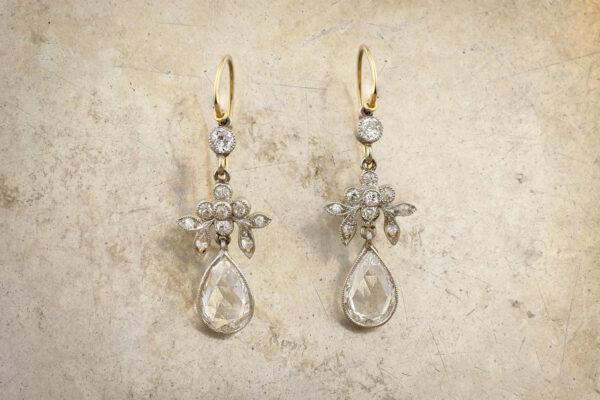 Rose Cut Pear Shaped Diamond Ear Pendants