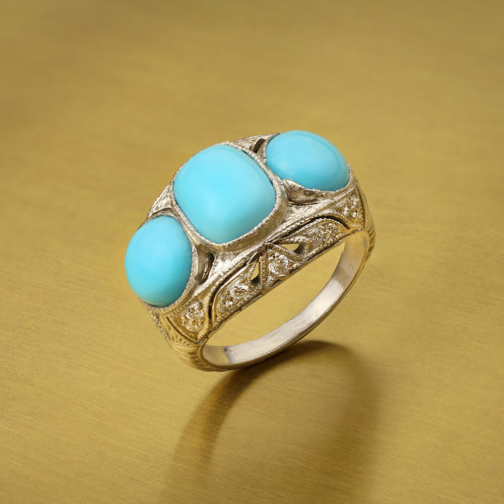 Turquoise and Diamond Cocktail Ring