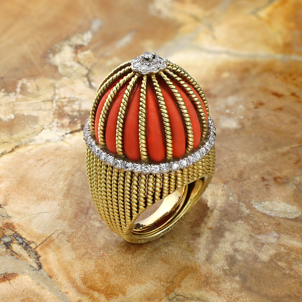 Cartier Coral, Diamond and Sculpted Gold Cocktail Ring