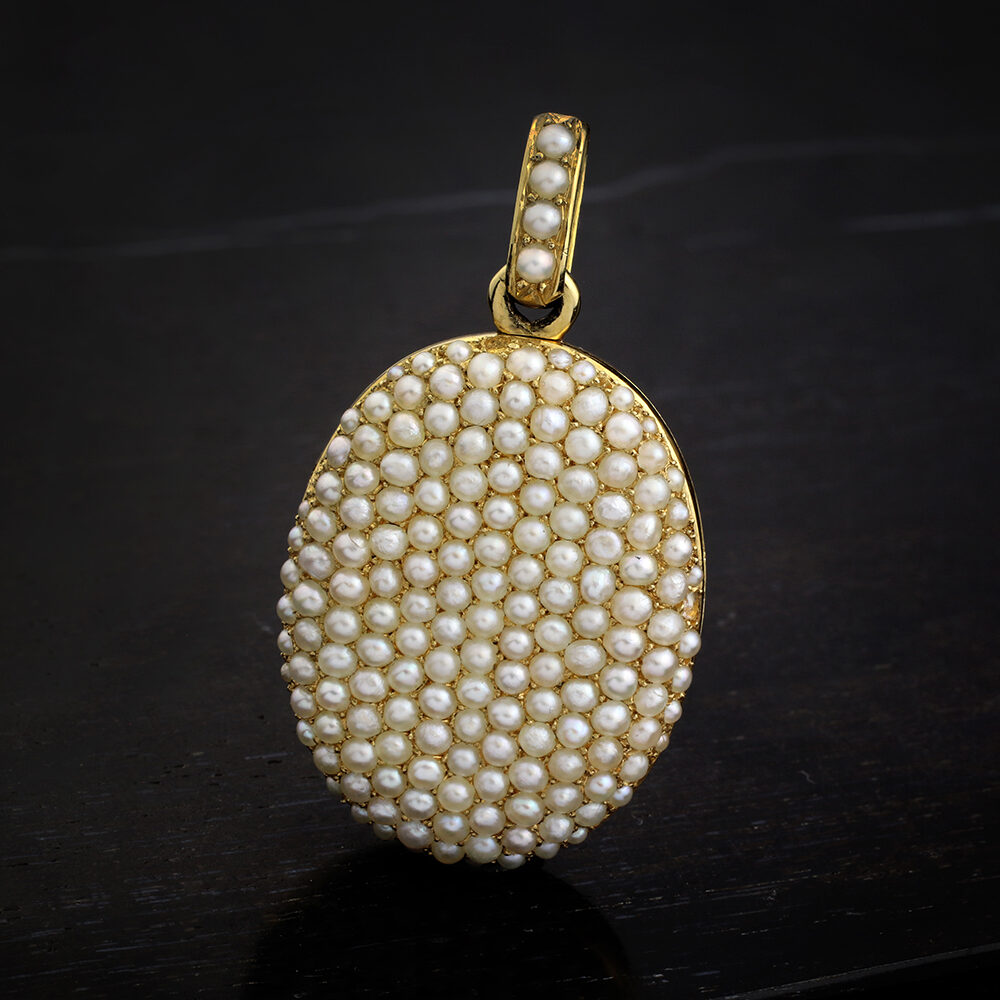 Antique Pearl and Gold Locket Pendant
