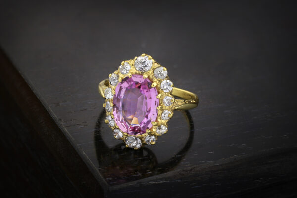 Antique Oval Shaped Pink Topaz And Diamond Ring