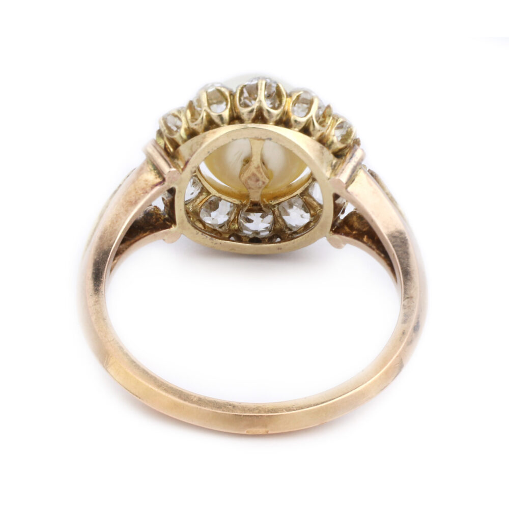 Antique Natural Pearl and Diamond Ring