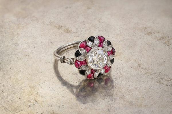 Art Deco Ruby, Onyx And Diamond Ring
